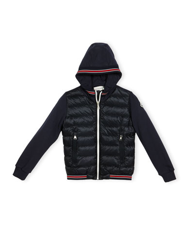 Tipped Hooded Combo Cardigan, Navy, Size 4-6