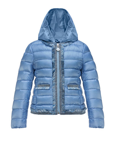 Kamaria Hooded Fringe-Trim Down Coat, Blue, Size 8-14