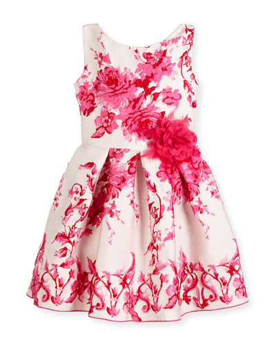 Sleeveless Pleated Floral Jacquard Dress, Pink, Size 2-6