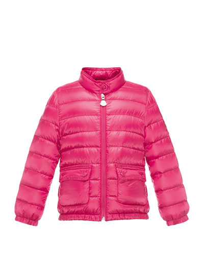 Lans Flap-Pocket Lightweight Down Puffer Jacket, Fuchsia, Size 4-6