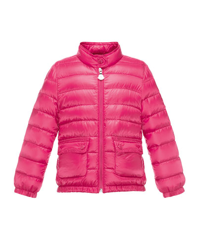 Lans Flap-Pocket Lightweight Down Puffer Jacket, Fuchsia, Size 8-14