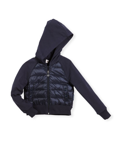 Hooded Down Combo Cardigan, Navy, Size 4-6