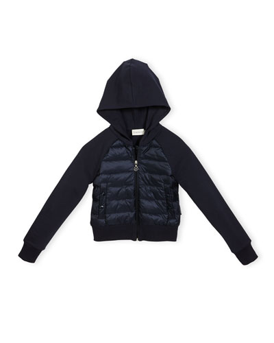 Hooded Down Combo Cardigan, Navy, Size 8-14