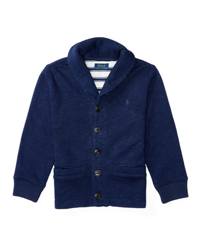 Fleece Shawl-Collar Cardigan, Blue, Sizes 2-4