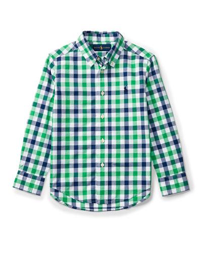 Long-Sleeve Check Sport Shirt, Green, Size 2-4