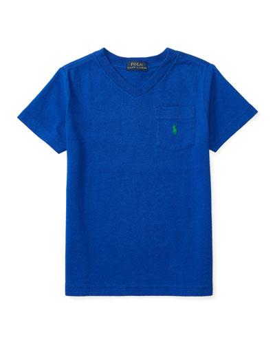 Cotton Jersey V-Neck Tee, Blue, Size 2-4