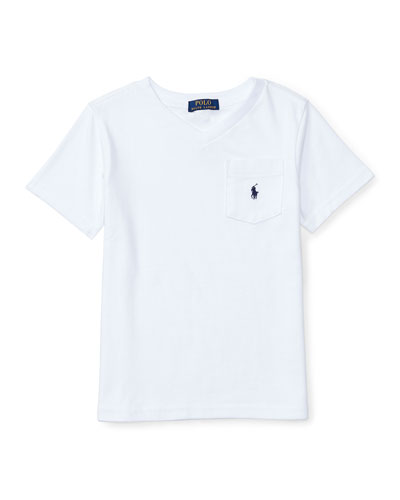 Cotton Jersey V-Neck Tee, White, Size 2-4