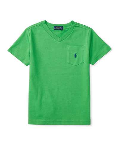Cotton Jersey V-Neck Tee, Green, Size 2-4