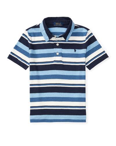 Striped Jersey Knit Polo Shirt, Blue, Sizes 2-4