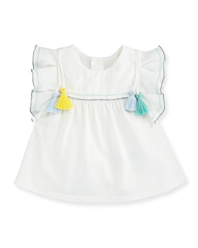 Ruffle & Tasseled T-Shirt Dress, Off White, Size 12-18 Months