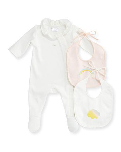 Footie Pajama and Bib Set, Size 3-9 Months