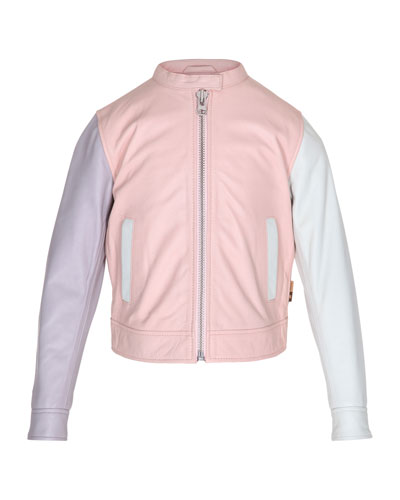 Hope Colorblock Leather Moto Jacket, Pink, Size 4-14