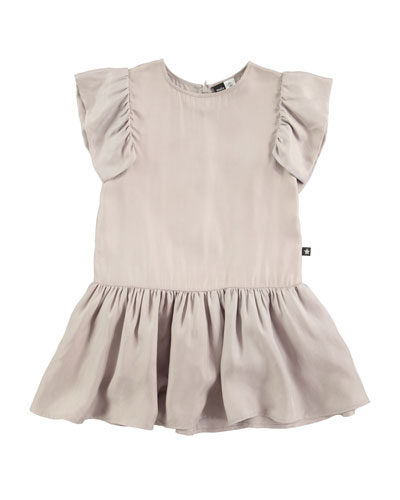 Claire Sleeveless Smocked Dress, Gray, Size 3T-12