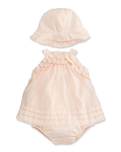 Ruffle Dress and Hat Set, Size 3-12 Months