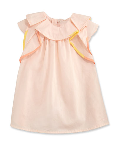 Flutter-Sleeve Poplin Shift Dress, Pink, Size 2-3