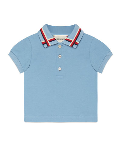 Sylvie Web Stretch Pique Polo Shirt, Blue/Red, Size 9-36 Months
