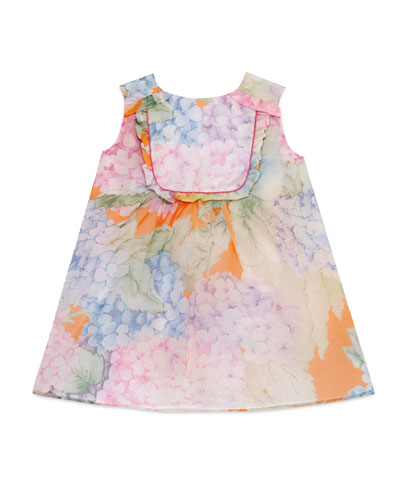 Sleeveless Silk Chiffon Hydrangea Shift Dress, Multicolor, Size 18-36 Months