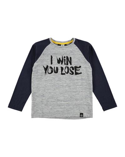 Rami Raglan I Win You Lose Tee, Blue/Gray, Size 4-12