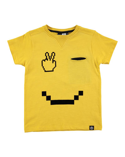 Renton Smiley Jersey Tee, Yellow, Size 4-12