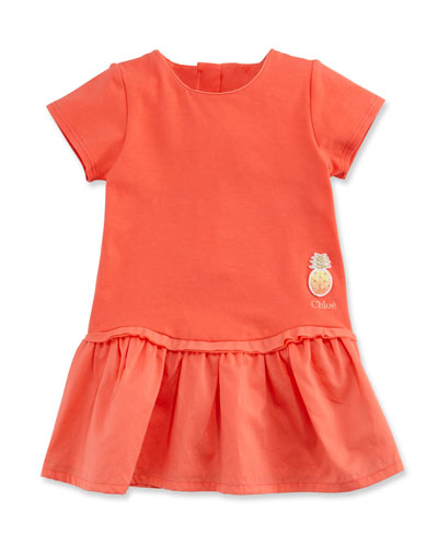 Short-Sleeve Poplin & Jersey Dress, Pink, Size 2-3