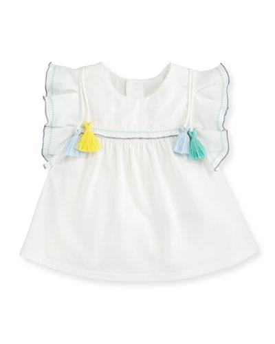 Ruffle & Tasseled T-Shirt Dress, Off White, Size 2-3