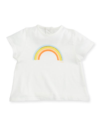 Rainbow-Print Short-Sleeve Tee, Size 2-3