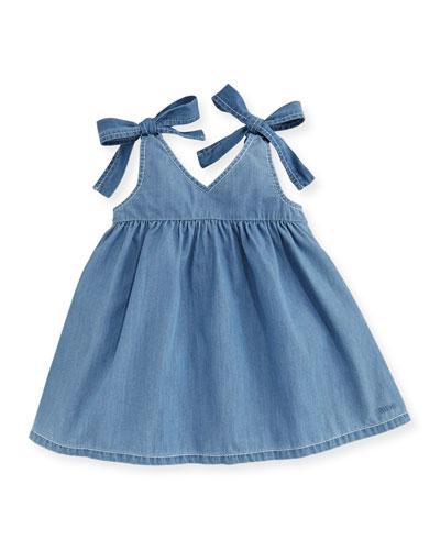 Denim Effect Sleeveless Dress, Size 2-3