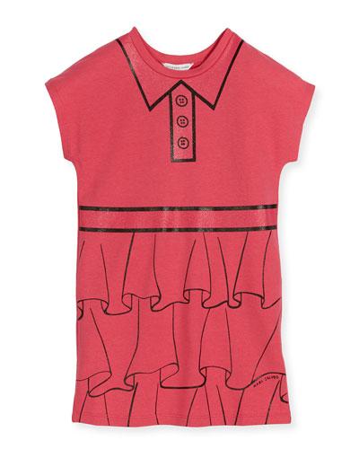 Cap-Sleeve Essential Jersey Trompe l'Oeil Dress, Pink, Size 6-10