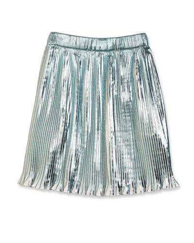Metallic Plissé Skirt, White, Size 6-10