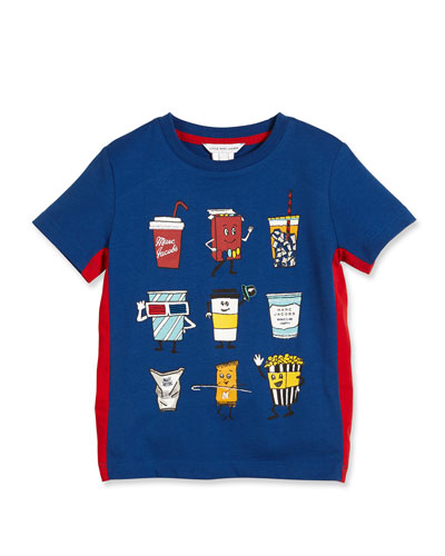 Cotton Jersey Animation Tee, Blue/Red, Size 4-5