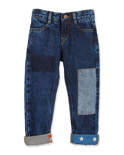 Stars & Stripes Patchwork Jeans, Blue, Size 4-5