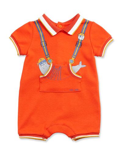 Tipped Trompe l'Oeil Jersey Shortall, Orange, Size 3-12 Months