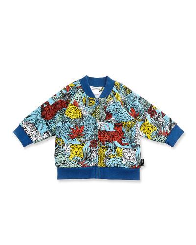 Cotton Jersey Raglan Leopard Jacket, Blue/Yellow, Size 3-12 Months