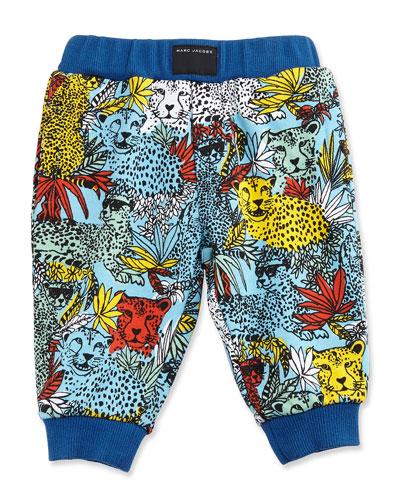 Cotton Jersey Leopard Track Pants, Blue/Yellow, Size 3-12 Months