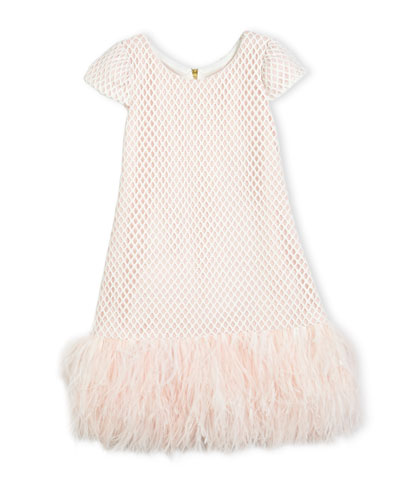 Cap-Sleeve Netted Shift Dress, Pink, Size 4-6X