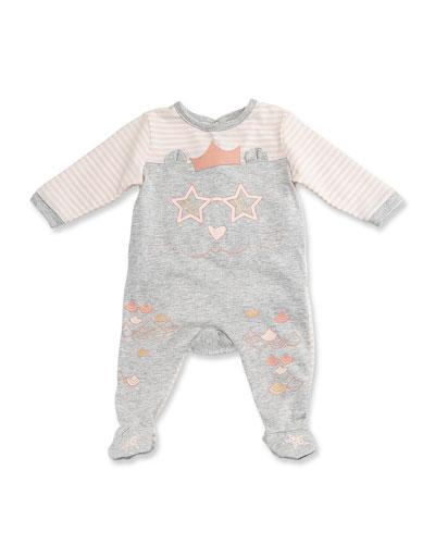 Long-Sleeve Stripe & Melange Footie Pajamas, Gray/Pink, Size 1-6 Months