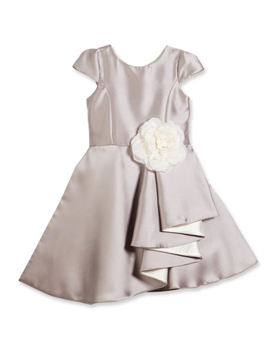 Cap-Sleeve Draped Satin A-Line Dress, Silver, 7-14