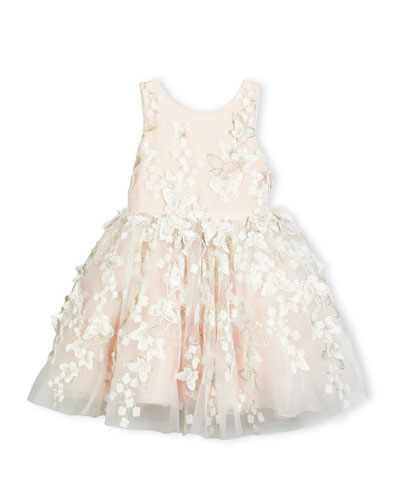 Sleeveless Tulle Butterfly Dress, Blush, Size 7-16