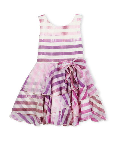 Sleeveless Tiered Striped Voile Dress, Lavender, Size 7-14