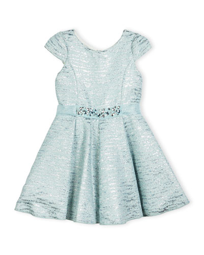 Cap-Sleeve Metallic Brocade Fit-and-Flare Dress, Blue, Size 4-6X