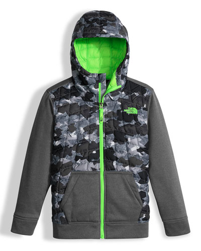 Canyonlands Hooded Mixed-Media Puffer Jacket, Gray, Size XXS-L