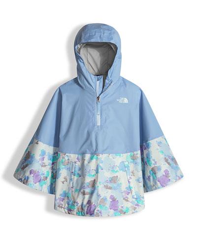 Camille Floral-Trim Rain Poncho, Blue, Size XXS-L