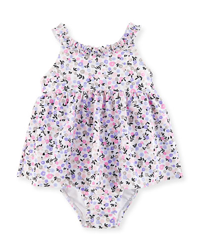 Floral Ruffle One-Piece Swim Dress, Multicolor, Size 12-24 Months