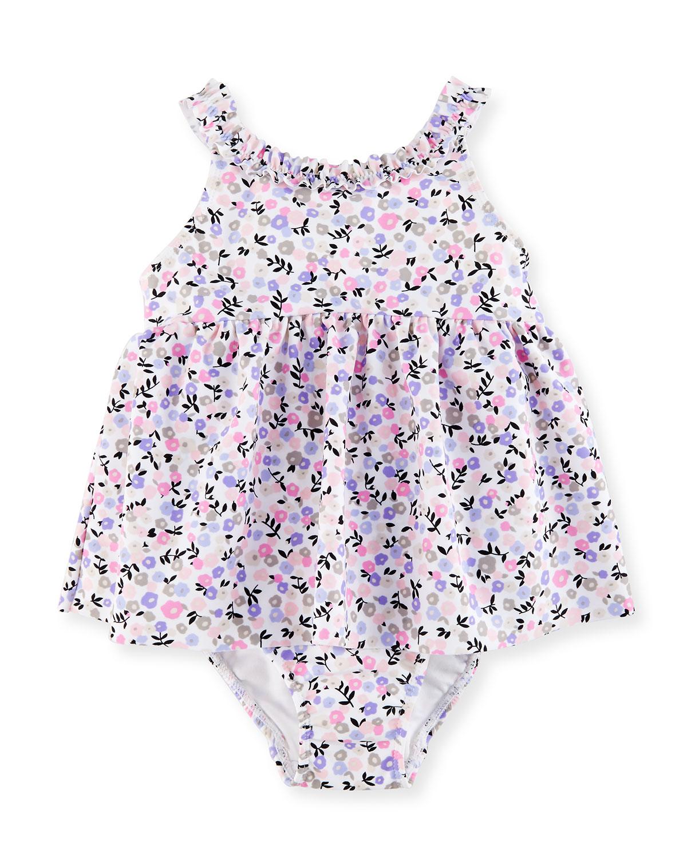 Floral Ruffle One-Piece Swim Dress, Multicolor, Size 12-24 Months