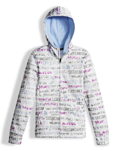 Hooded Surgent Fleece Graphic Jacket, White, Size XXS-L