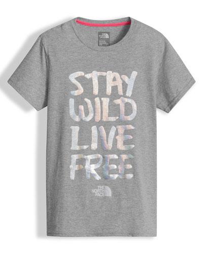Stay Wild Live Free Jersey Tee, Gray, Size XXS-L
