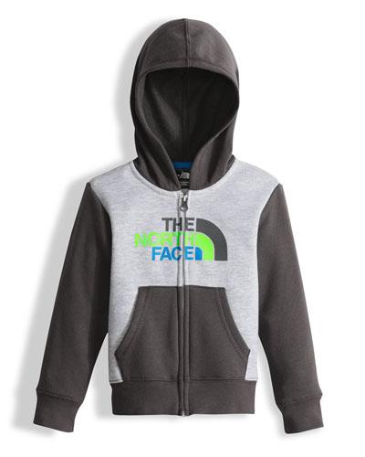 Hooded Fleece Colorblock Logo-Wear Sweatshirt, Gray, Size 2-4T