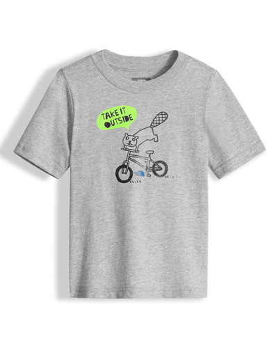 Take It Outside Heathered Graphic Jersey Tee, Gray, Size 2-4T