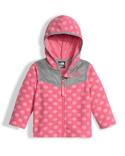Lottie Dottie Hooded Polka-Dot Jacket, Pink, Size 3-24 Months