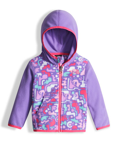 Glacier Camo-Print Hooded Micro-Fleece Jacket, Purple, Size 3-24 Months